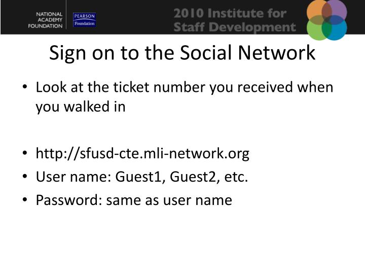 Sign on to the Social Network