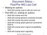 document status post pre wg last call