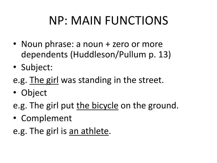 NP: MAIN FUNCTIONS