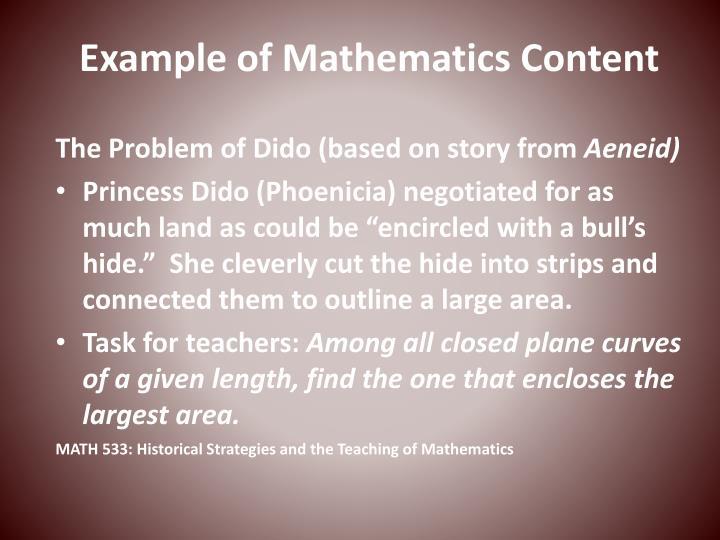 Example of Mathematics Content