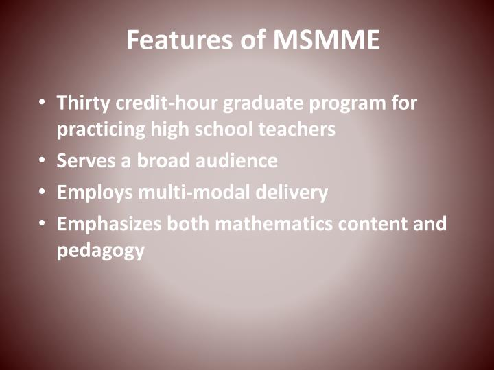 Features of MSMME