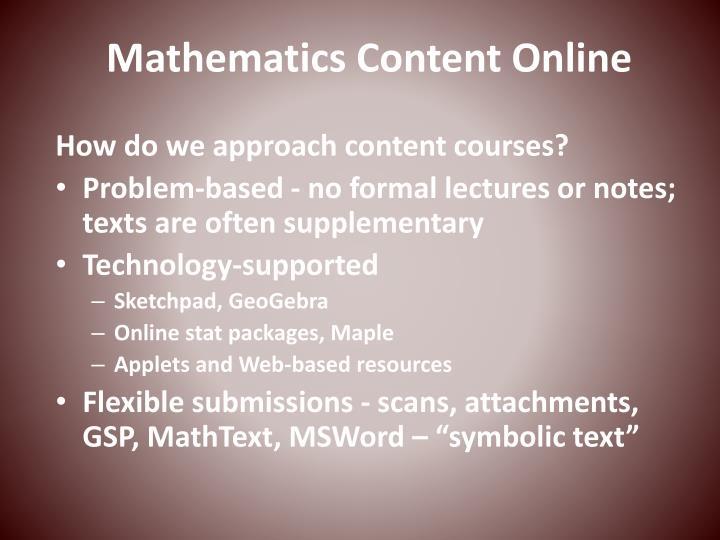 Mathematics Content Online