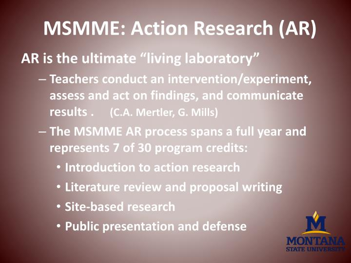 MSMME: Action Research (AR)