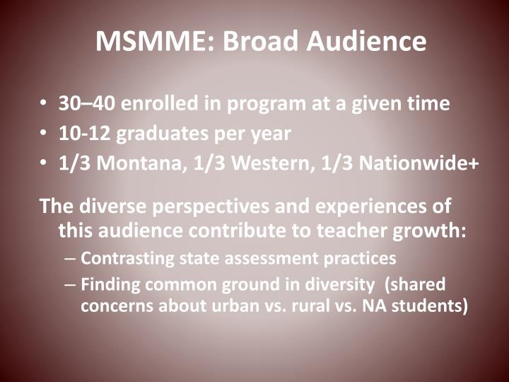 MSMME: Broad Audience