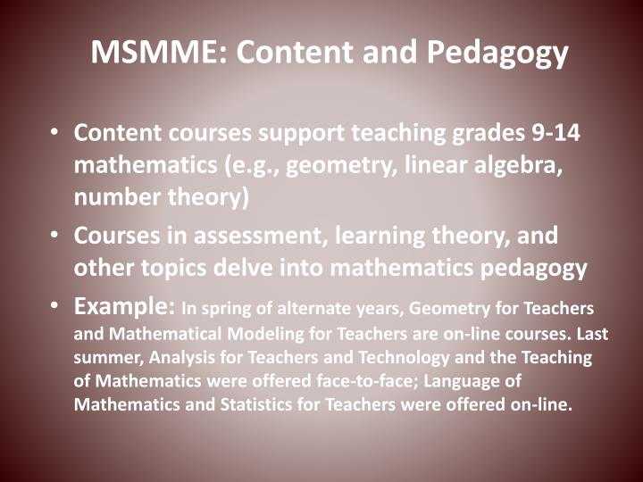 MSMME: Content and Pedagogy