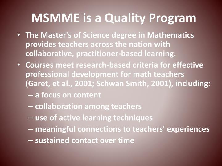 MSMME is a Quality Program