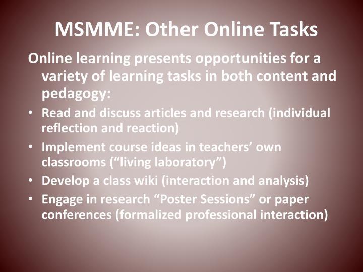 MSMME: Other Online Tasks