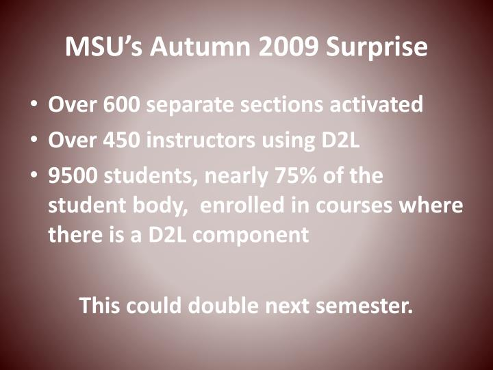 MSU's Autumn 2009 Surprise