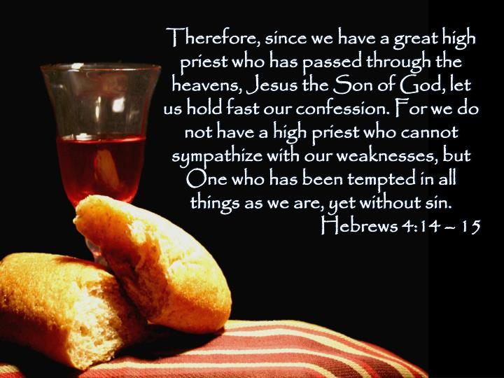 Therefore, since we have a greathigh priest who haspassed through the heavens, Jesusthe Son of God, let us hold fast our confession.