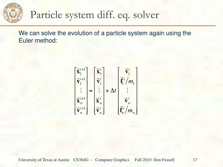 Particle system diff. eq. solver
