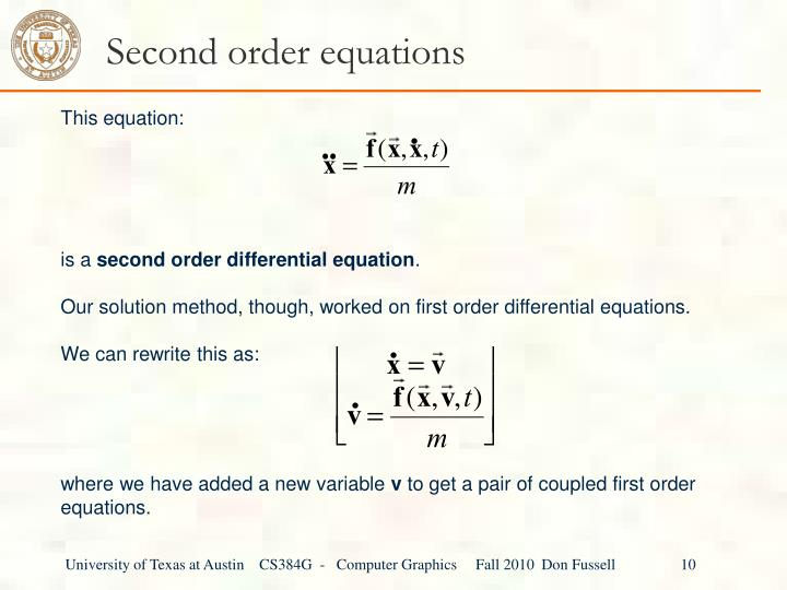 Second order equations
