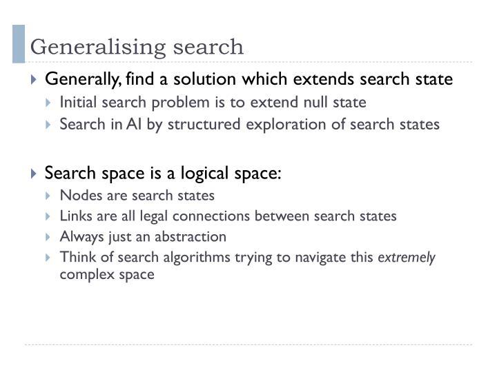 Generalising search