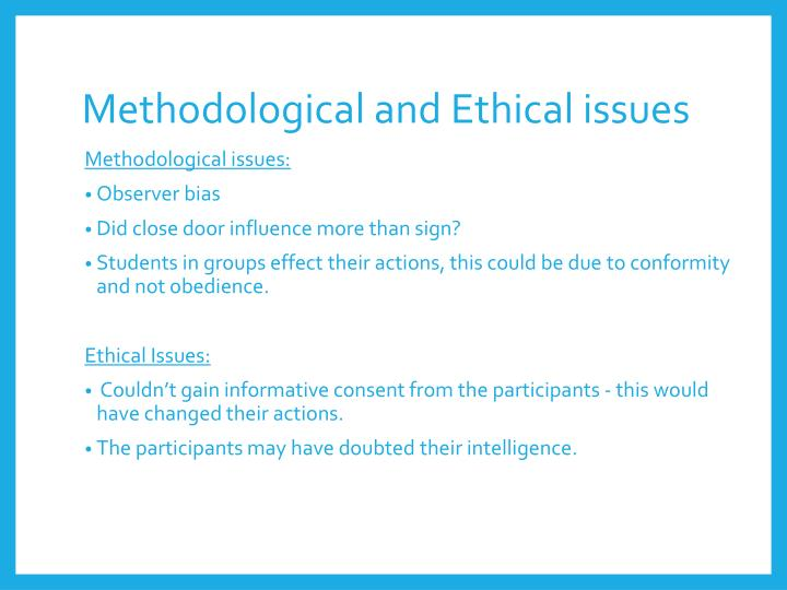 Methodological and Ethical issues