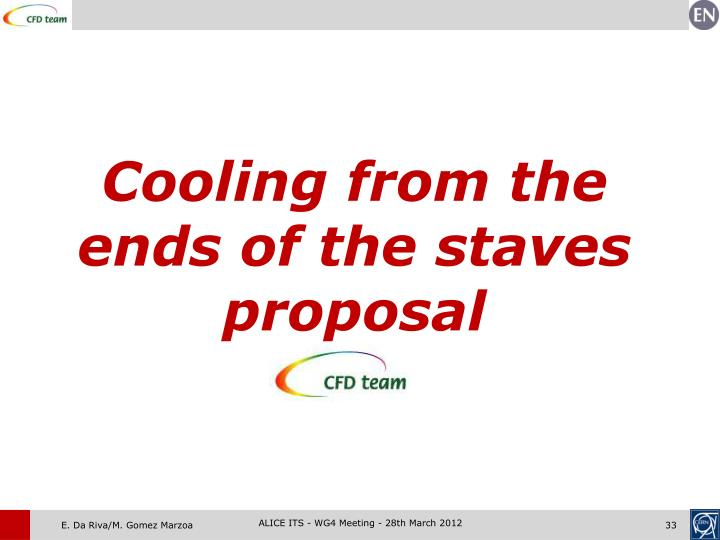 Cooling from the ends of the staves proposal