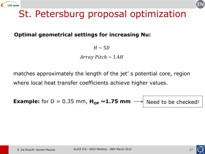 St. Petersburg proposal optimization