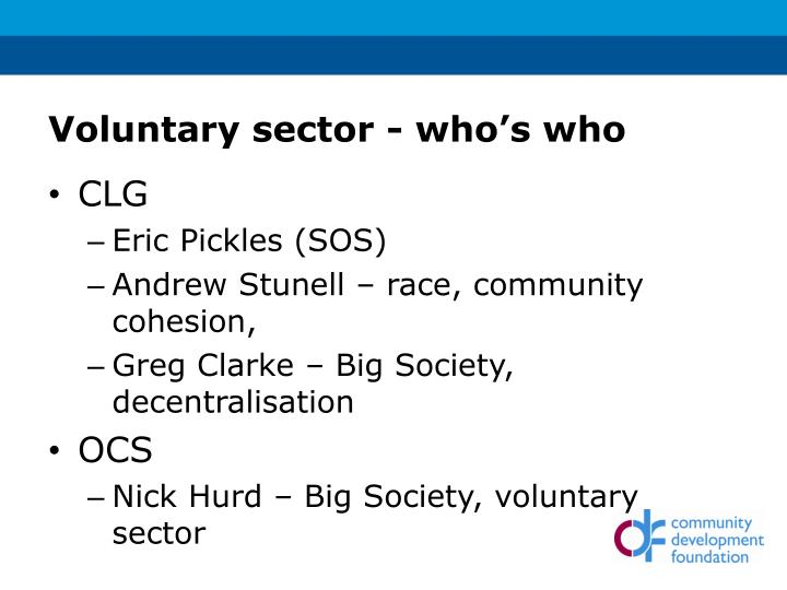 Voluntary sector - who's who