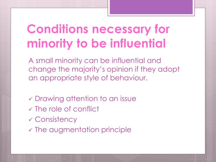 Conditions necessary for minority to be influential