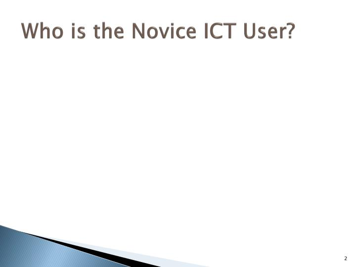 Who is the novice ict user