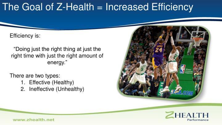 The Goal of Z-Health = Increased Efficiency