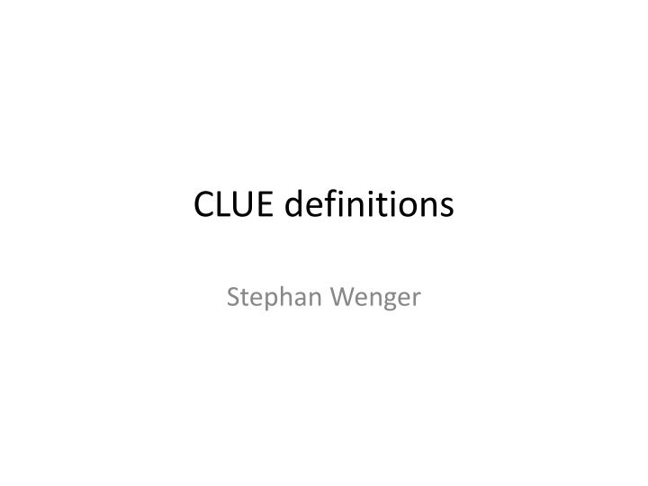 clue definitions