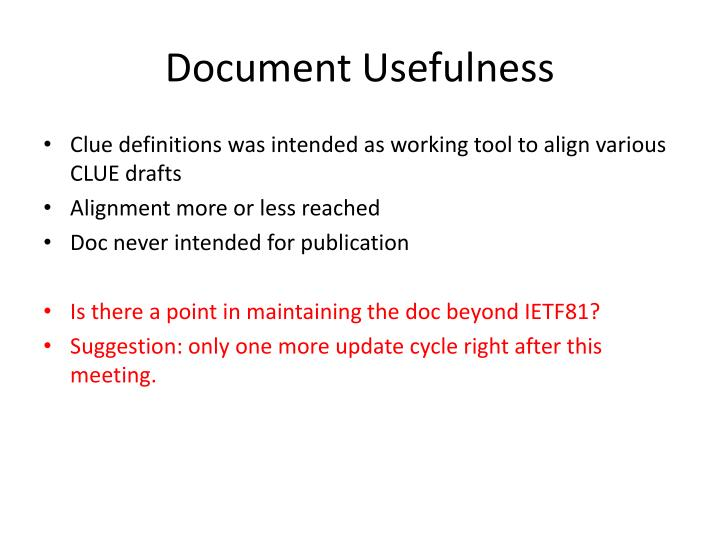 Document usefulness