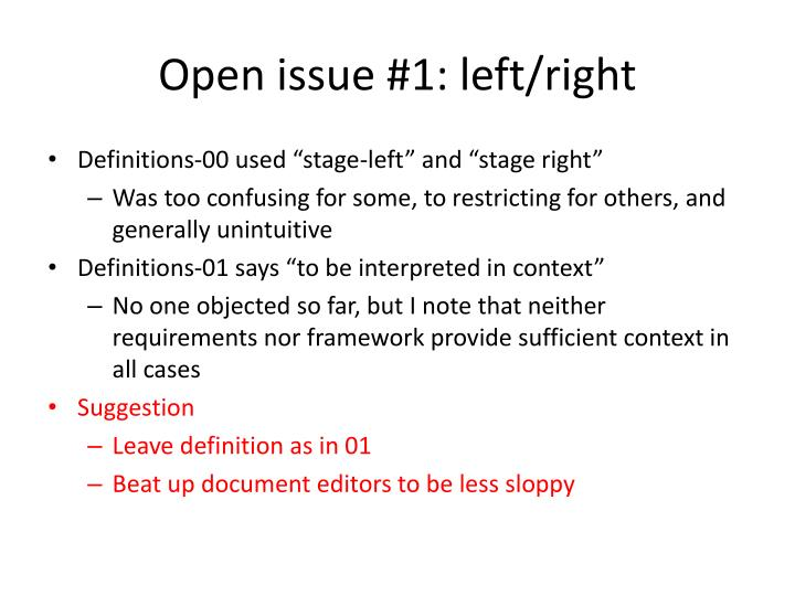 Open issue 1 left right