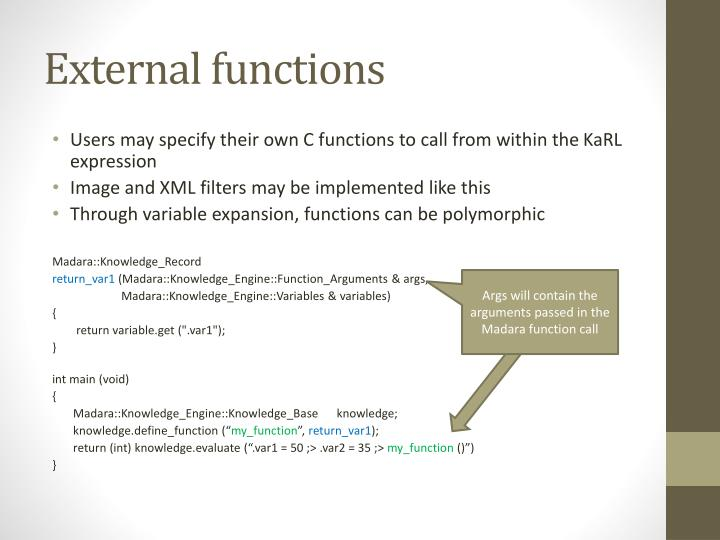 External functions