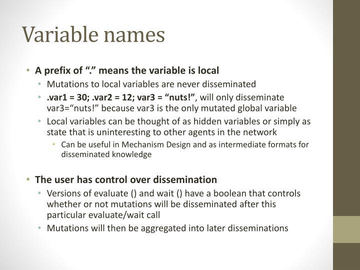Variable names