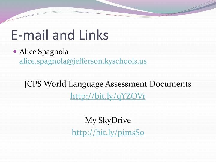 E-mail and Links