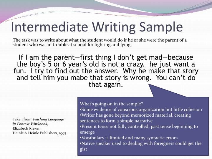 Intermediate Writing Sample