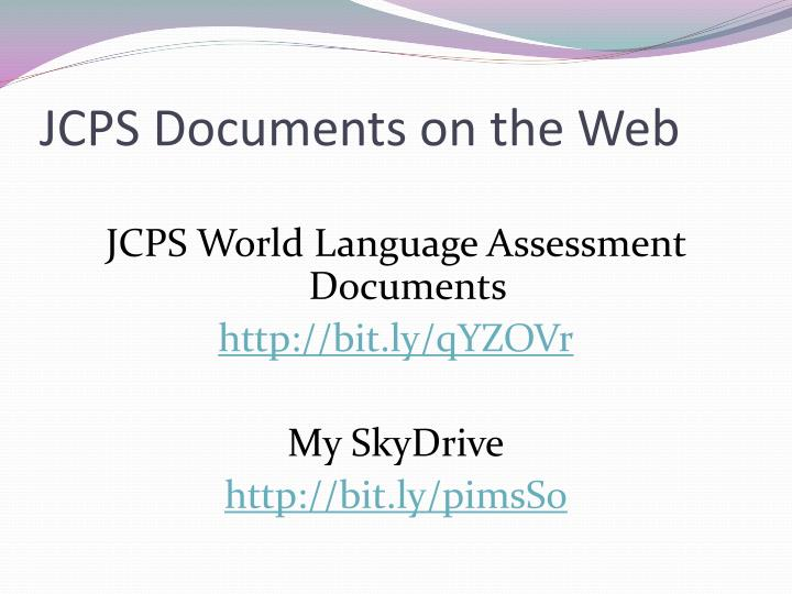JCPS Documents on the Web