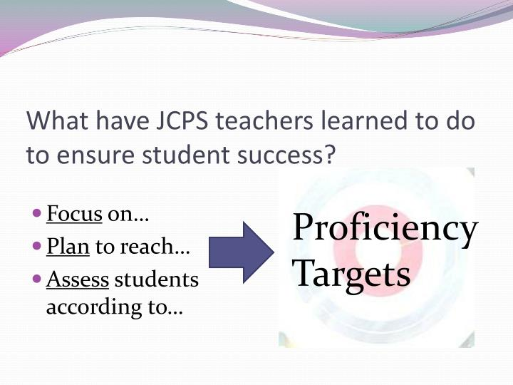 What have JCPS teachers learned to do to ensure student success?