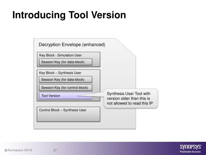 Introducing Tool Version