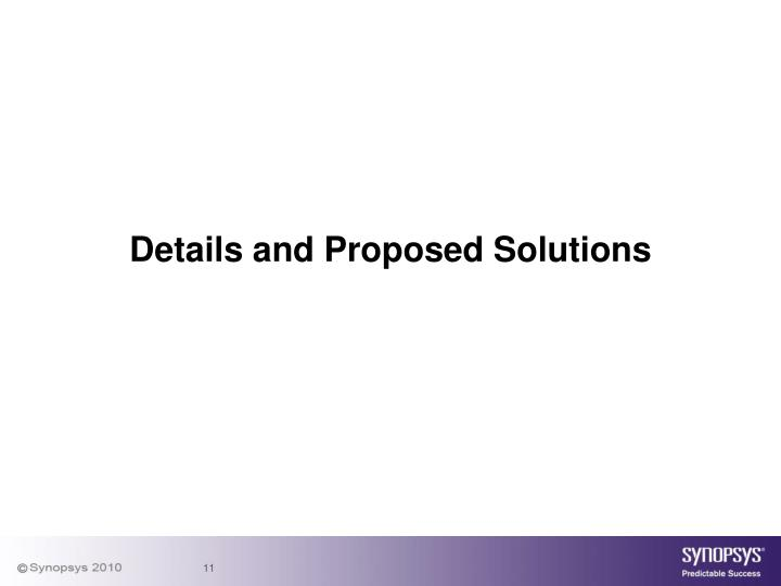 Details and Proposed Solutions
