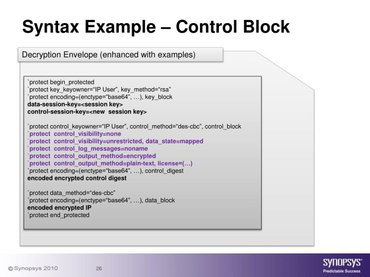 Syntax Example – Control Block
