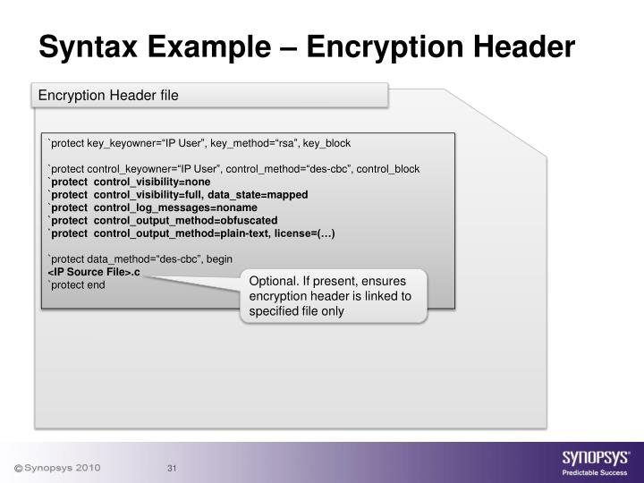Syntax Example – Encryption Header