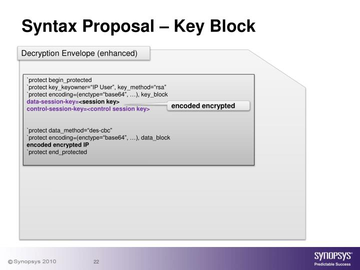 Syntax Proposal – Key Block