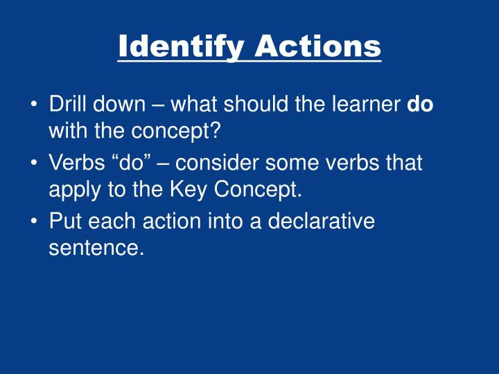 Identify Actions