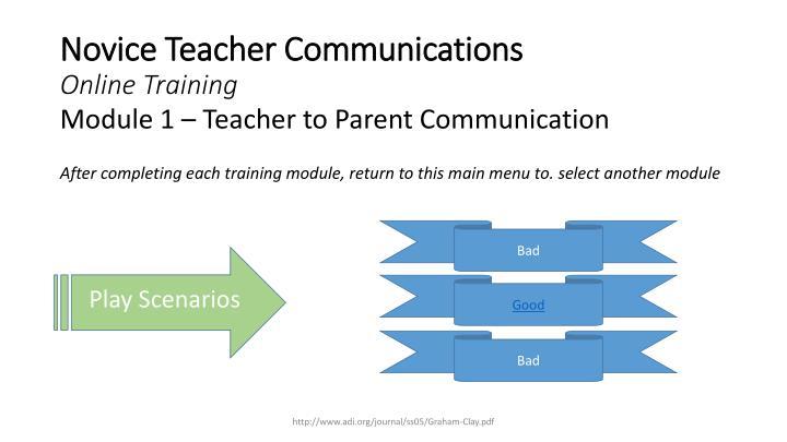 Novice Teacher Communications