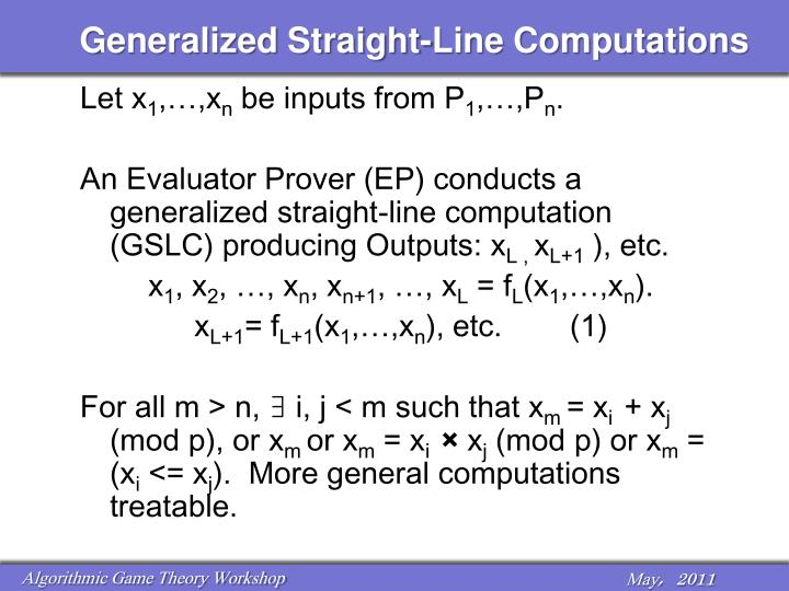Generalized Straight-Line Computations