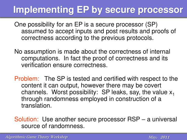 Implementing EP by secure processor