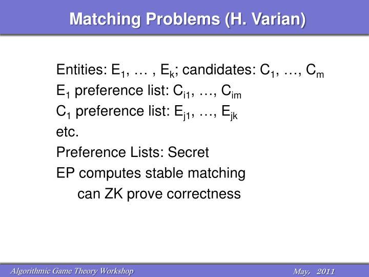 Matching Problems (H. Varian)