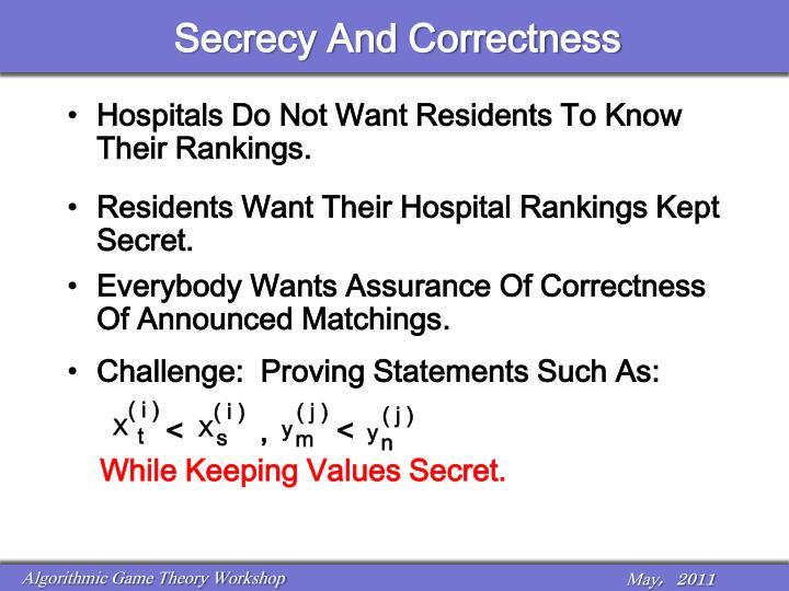 Secrecy And Correctness
