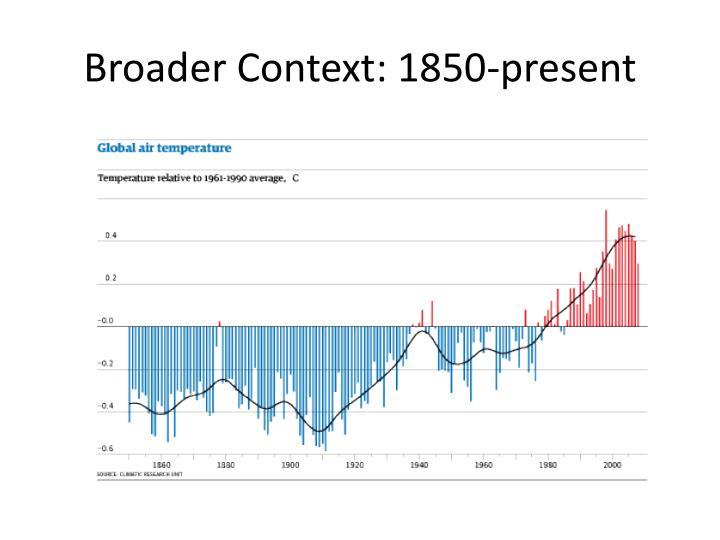 Broader Context: 1850-present
