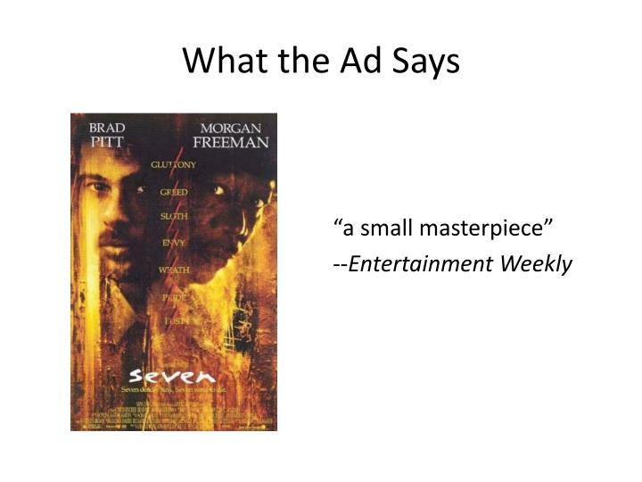 What the Ad Says