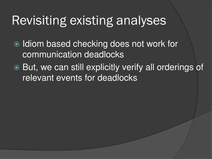 Revisiting existing analyses