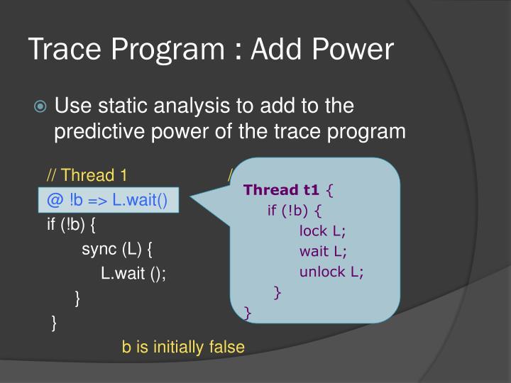 Trace Program : Add Power