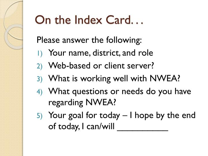 On the index card