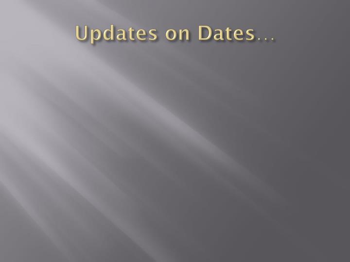 Updates on Dates