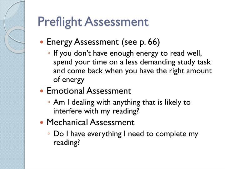 Preflight Assessment